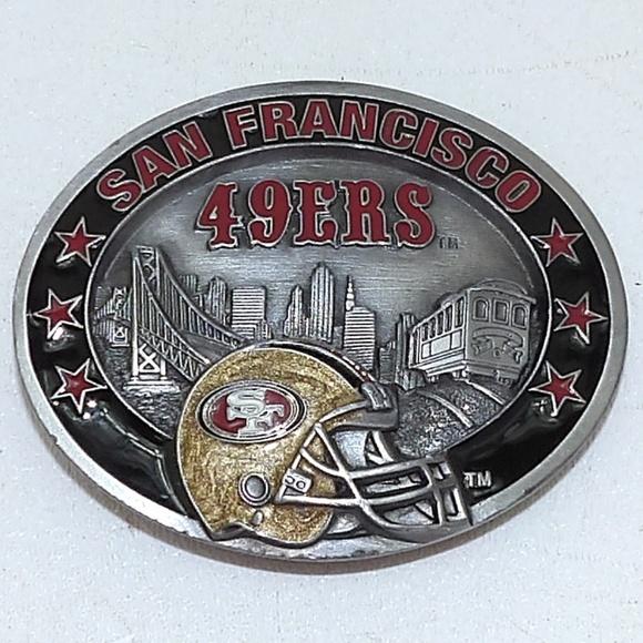 b9cb7777 NFL Belt Buckle San Francisco 49ers Enamel Brass